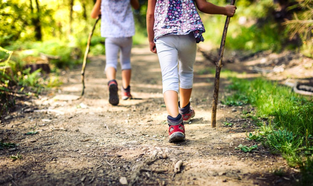 Children hiking in mountains or forest with sport hiking shoes. Girls are walking trough forest path wearing mountain boots and walking sticks. Frog perspective with focus on the shoes.